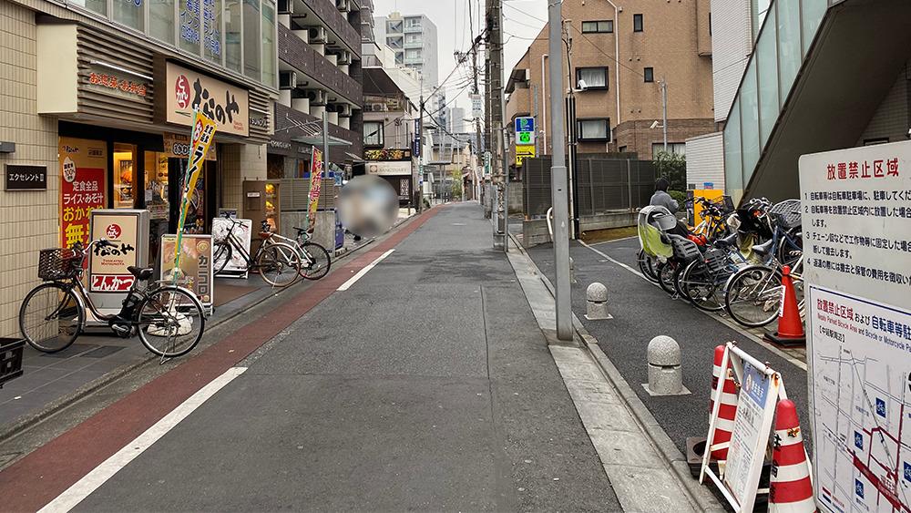 東急大井町線中延駅の南西方面の道路