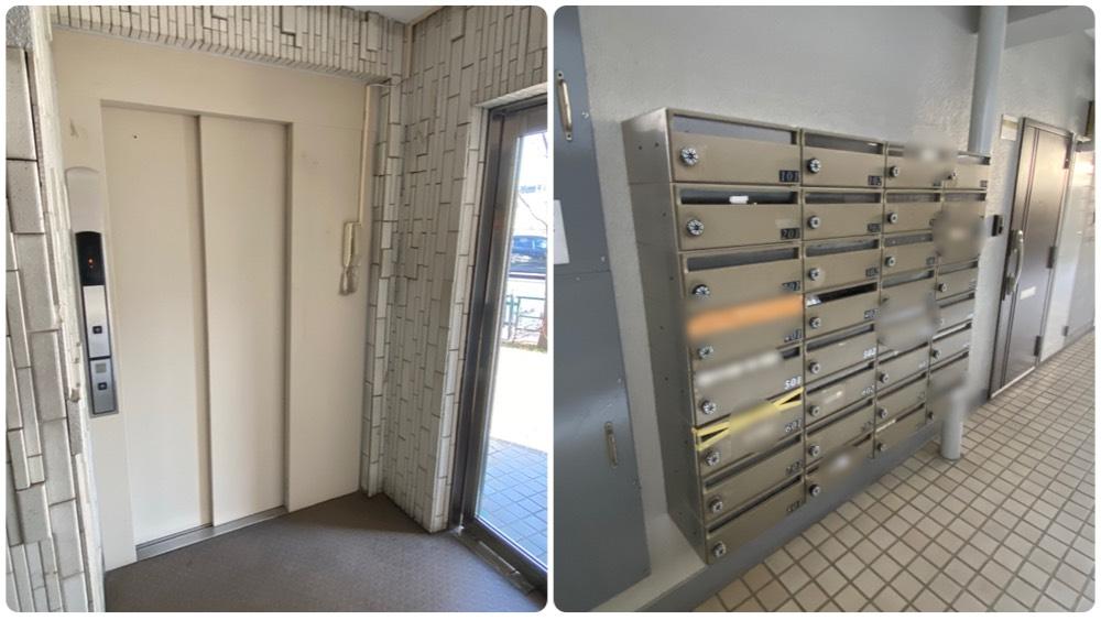 ニックハイム石川台のエレベーターとメールボックス
