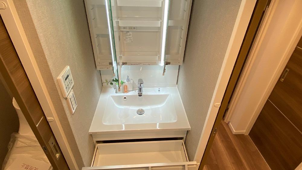 タウンハイツ上池台の独立洗面化粧台の収納スペース